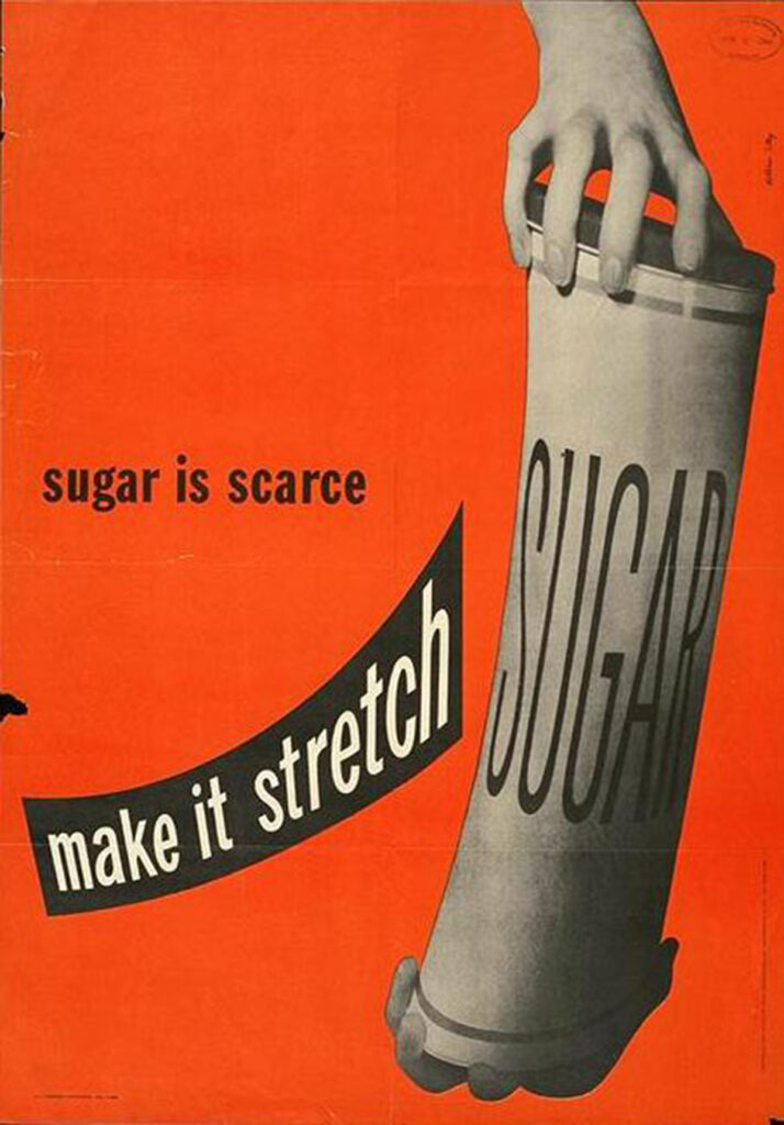 A historic poster of a stretched sugar canister